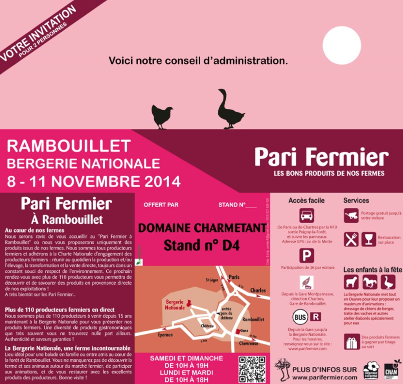 Invitation salon Pari Fermier Rambouillet